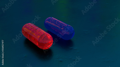 Rote und Blaue Pille | Matrix Konzept Close Up | 3D Render Illustration Canvas Print