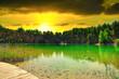 Leinwandbild Motiv A turquoise lake on sunset. Travel and rest concept. Wonderful views and extraordinary places on earth, sunrise.