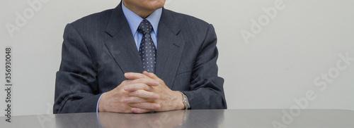 Obraz na plátně 身振り手振りのジェスチャーを交えて話しをするビジネスマン 手を組むアップアップ