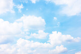 Fototapeta Na sufit - Pastel blue sky with white haep clouds