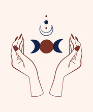Boho Mystical Hand Drawn Illus...