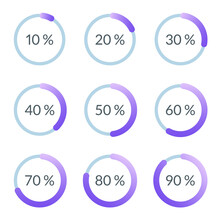 Percentage Pie Chart Set. Circle Percent Diagram Or Chart With Progress Bar. Infographic Design Template For Business Process, Data Statistic, Web Loading Process. Vector Illustration.