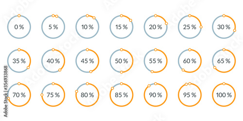 Papel de parede Percentage pie chart set