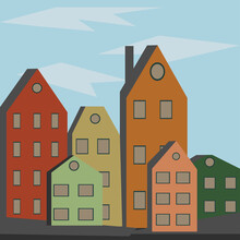 Cityscape. Cute Little Cartoon...
