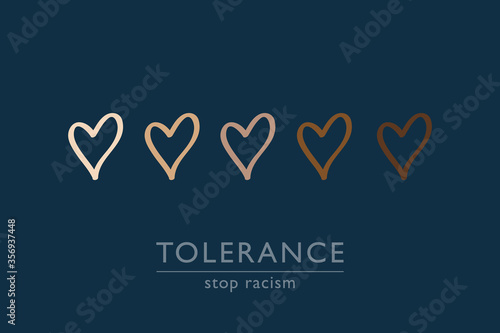 Photo stop racism tolerance concept with hearts in different colors vector illustratio