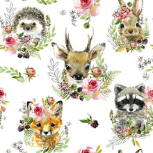 Cute Little Forest Animals Seamless Pattern. Watercolor Wild Nature Illustration. Animal Print. Racoon. Fox. Bunny. Deer. Hadgehog.