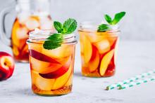 Homemade Peach Iced Tea Or Lem...