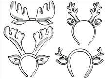 Set Hand Drawn New Year Deer H...