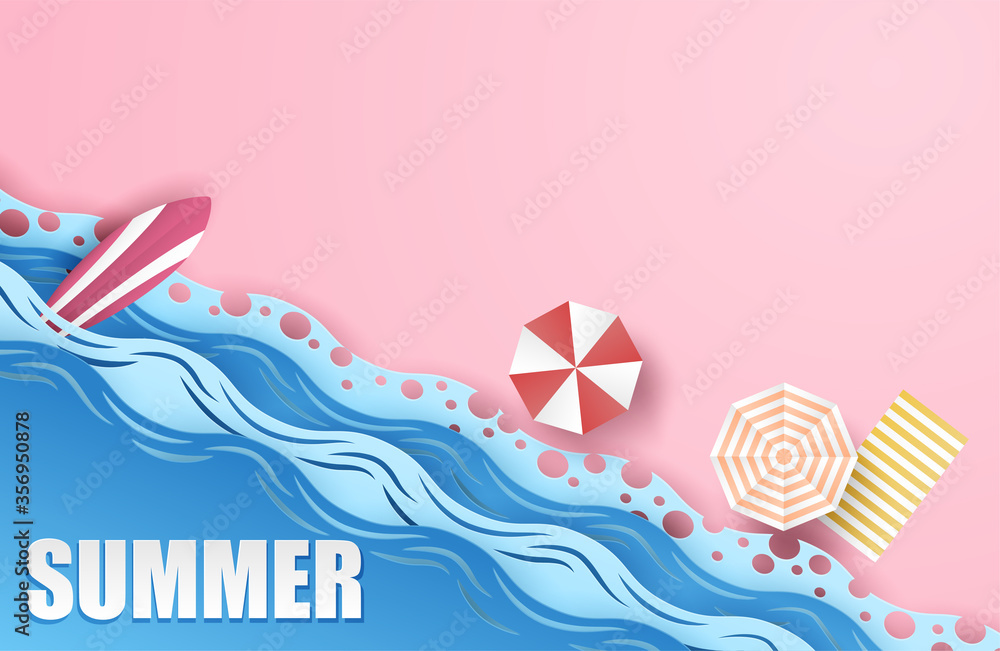 Fototapeta Summer background. travel and relax summer on the beach concept. design with top view beach, umbrellas, surfboard background. paper art style. Vector.