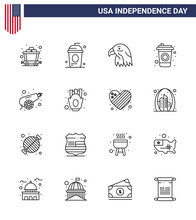 Line Pack Of 16 USA Independence Day Symbols Of War; Army; Animal; Drink; Bottle