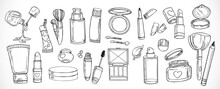 Big Set Of Doodles On Cosmetics  Cream,eye Shadow, Face Powder, Brush, Foundation Cream, Mascara On A White Background