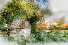 Digital Watercolor Painting Of Stunning Landscape Image Of Old Derelict Farm Shed In Field During Beautiful Summer Sunset Over Distance