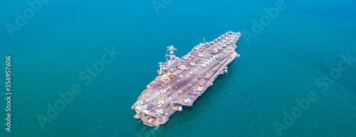 Fényképezés US  Aircraft Carrier Nuclear ship, Military navy ship carrier full loading fight