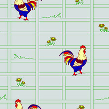 Seamless Vector Pattern With Rooster On Light Blue Background. Beautiful Farm House Wallpaper Design With Cock. Squares And Bird Fashion Textile.