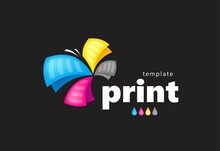 Colored Logo Print Abstract Butterfly Colorful Flyer Paper Black Background