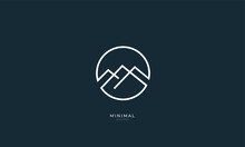 A Line Art Icon Logo Of A Mountain, Hill, Summit