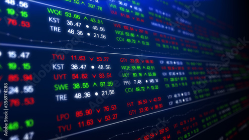 Obraz Stock Market. Shares are traded in the stock exchange. Digital screen with updating stats, number of sales, percentage, growth, decline. Abstract financial, economic report, forecast investment - fototapety do salonu