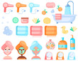 Skin care routine icons. Various beauty objects. Face care concept. Cleansing, moisturizing, treating. Hand drawn set. Cartoon style. Flat design. All elements are isolated
