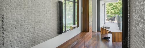 Home corridor with mirror wall, panorama Wallpaper Mural