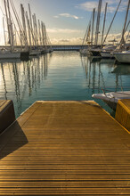 Marina With Walkway And Boats ...
