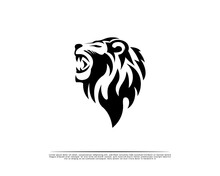 Elegance Black Tattoo Art Roaring Head Lion Logo, Symbol Design Illustration