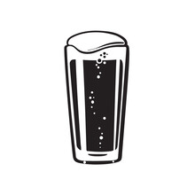Shaker Pint Beer Glass. Hand Drawn Vector Illustration On White Background.
