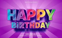 Editable Text Effect, 3D Happy Birthday Text Style