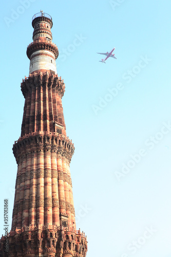 Qutub minar, Delhi Monument Fort Landscape, Historical, New Delhi, India Wallpaper Mural