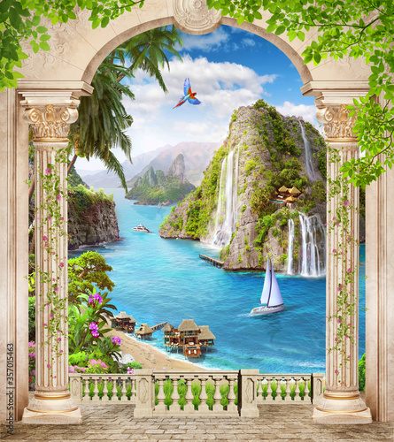 Do łazienki   digital-mural-arch-columns-tropical-island-with-yachts-and-mountains