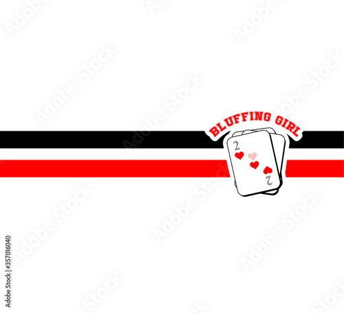Fotografia bluffing, girl, playing cards, vector, T-shirt fashion, T-shirt design, Poster D