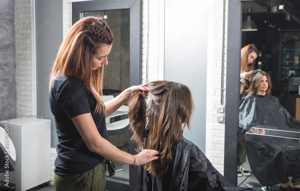 Fototapeta Profesional de peluquería trabajando, peinando, tiñendo y cortando cabello.