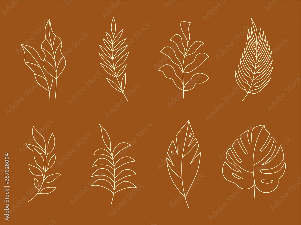 Fototapeta Vector set of logo design templates and monogram concepts in trendy linear style - floral design elements for greeting cards and prints