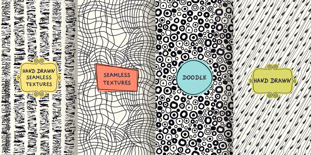 Fototapeta Set of  seamless hand drawn texture designs for backgrounds, business cards, web design. Doodle pattern with trendy modern colorful labels. vector illustration