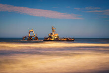 Abandoned Shipwreck Of The Stranded Zeila Vessel At The Skeleton Coast, Namibia