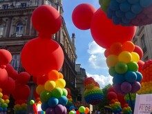 Rainbow Color Balloons At London Gay Pride Parade
