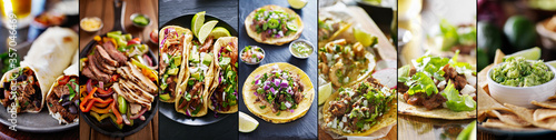 mexican food collage with tacos, fajitas and burritos