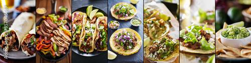 Obraz na plátně mexican food collage with tacos, fajitas and burritos