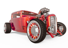 Hotrod With No Brand In White Background Front Side View
