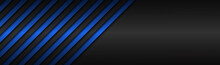 Dark Blue Abstract Metallic Vector Header With Slanting Lines. Blue Striped Pattern, Parallel Lines And Strips. Vector Abstract Widescreen Background With Blank Space For Your Logo