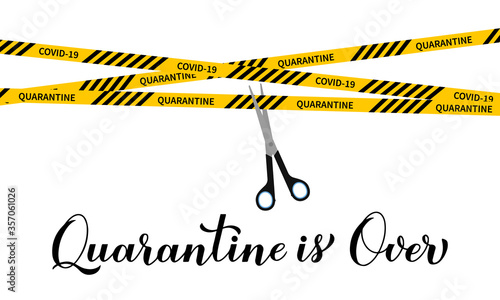 Fotomural Quarantine is over calligraphy hand lettering and Scissors cut yellow caution tape