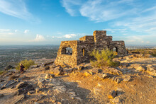 Dobbins Lookout In Phoenix, Arizona. Built Atop South Mountain By The Civilian Conservation Corps During The Great Depression, It Is A Popular Destination For Sightseers.