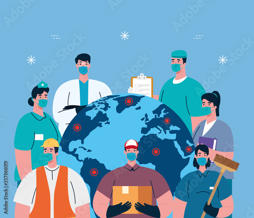 Obraz people with uniforms workermasks and world map design of Coronavirus 2019 nCov workers theme Vector illustration - fototapety do salonu