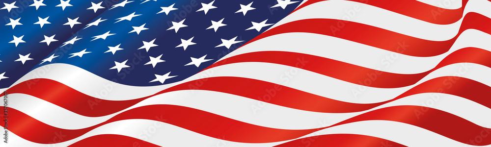 Fototapeta USA flag wavy long drawn landscape background banner