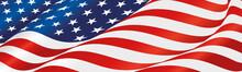 USA Flag Wavy Long Drawn Landscape Background Banner
