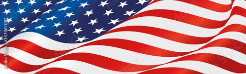 Fotografie, Obraz USA flag wavy long drawn landscape background banner