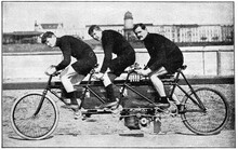 Motor Triplet Bicycle. Illustration Of The 19th Century. White Background.