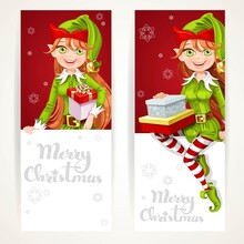 Cute Elf Girls With Gift On Two Vertical Banners On A White Back