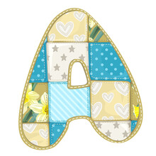 Roundish Font From Quilted From Multi-colored A Blanket Rag - Le