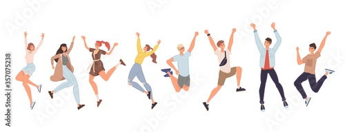 Happy people jumping high giving high five set Tablou Canvas