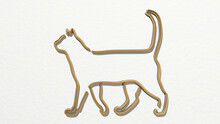 Cat Outline From A Perspective On The Wall. A Thick Sculpture Made Of Metallic Materials Of 3D Rendering